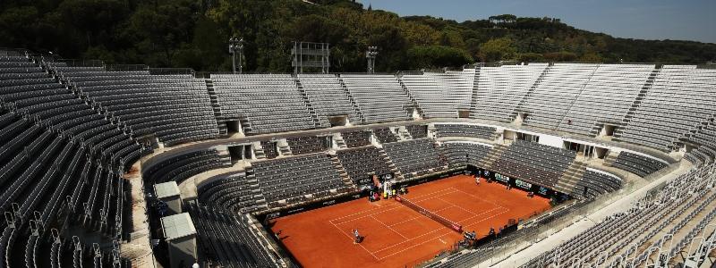 An empty tennis stadium in Rome