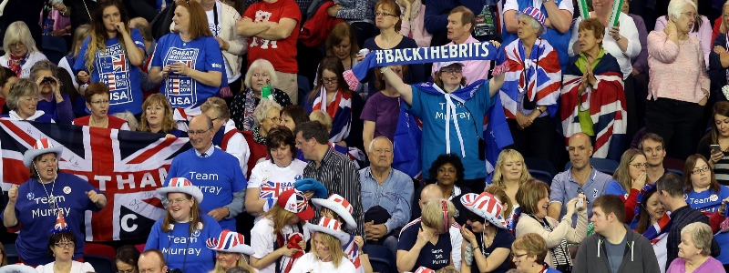 A group of British fans at the Davis Cup