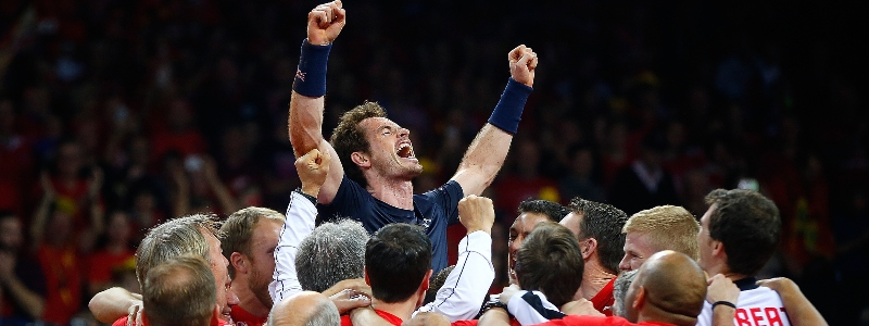 Andy Murray is held aloft after Great Britain win the Davis Cup in 2015