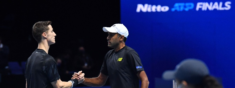Joe Salisbury and Rajeev Ram in action at the 2020 Nitto ATP FInals