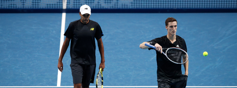 Joe Salisbury and Rajeev Ram in action during their second match at the 2020 Nitto ATP FInals