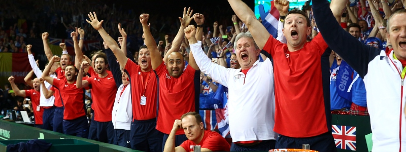 The Great Britain backroom staff celebrate after winning the 2015 Davis Cup