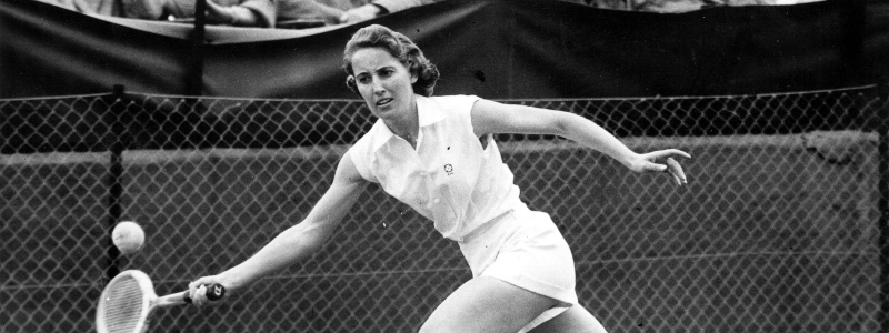Angela Mortimer in action during a tennis match at the Connaught Lawns in Chingford, Essex in 1961.
