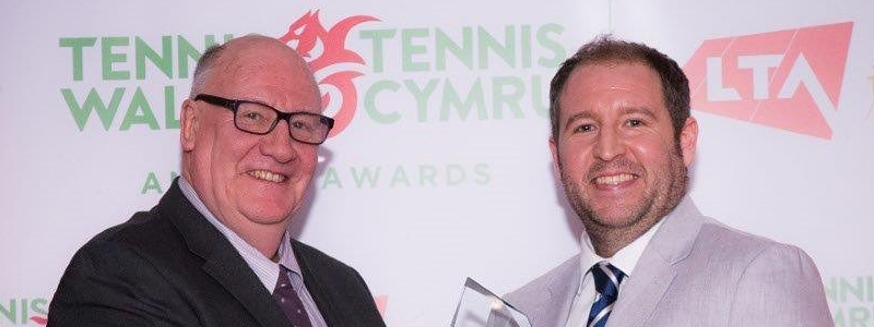 Stephen Clarke, left, pictured at Tennis Wales awards