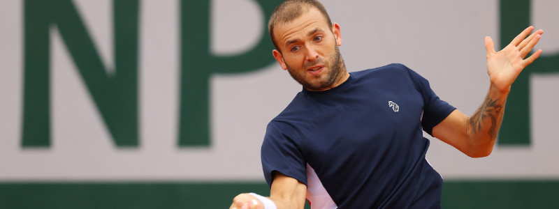 Dan Evans in action at Roland Garros