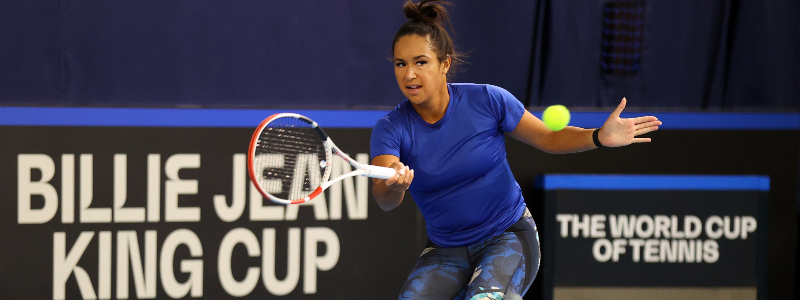 Heather Watson in action in the Billie Jean King Cup