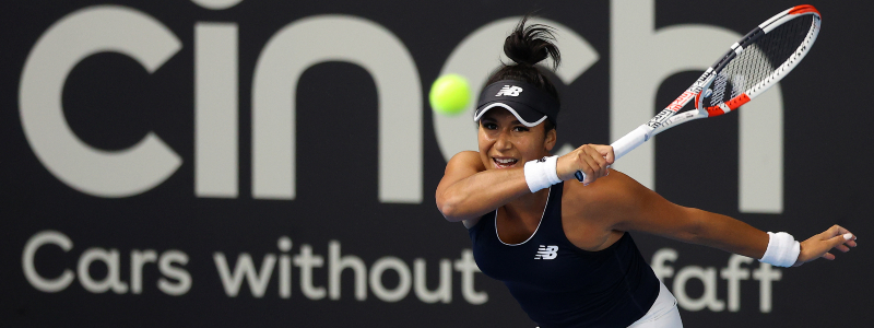 Heather Watson in action against Giuliana Olmos