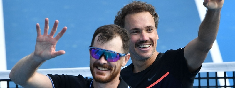 Jamie Murray and Bruno Soares in action in Melbourne