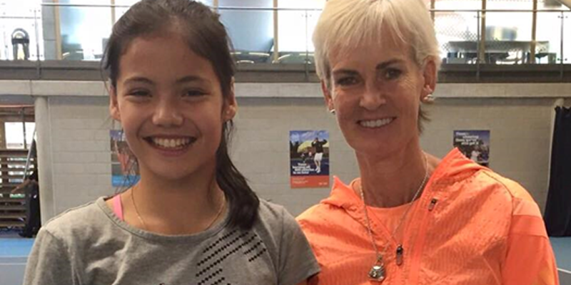 Emma Raducanu and Judy Murray at the LTA's National Tennis Centre in 2015