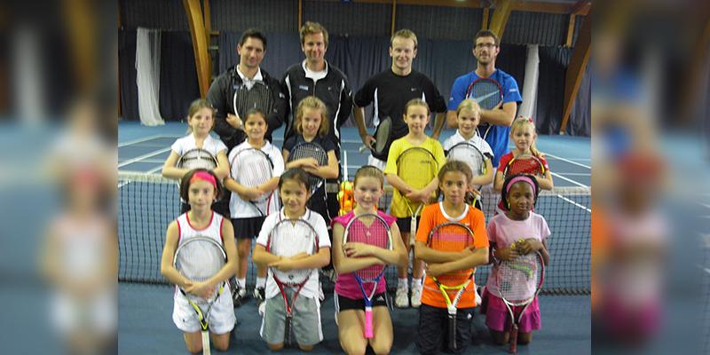 Emma Raducanu (front row, second left) at an LTA regional training camp