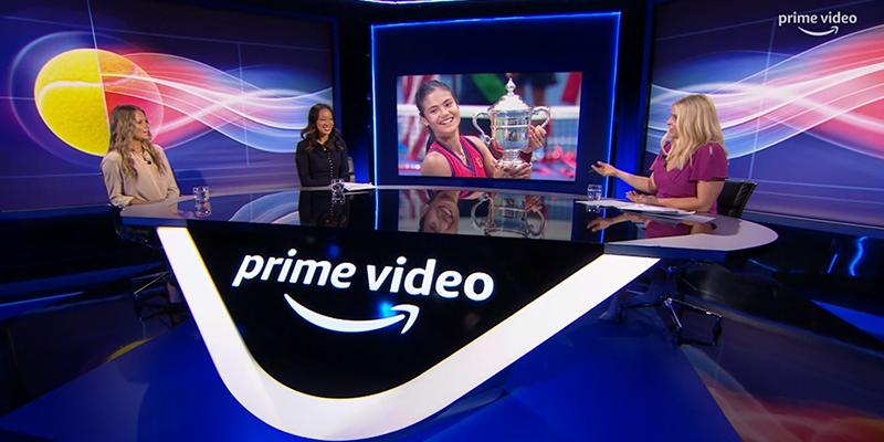 Amazon Prime Video studio during coverage of Emma Raducanu's US Open win