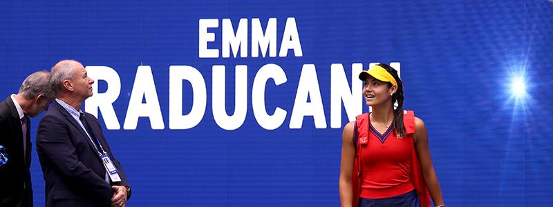Emma Raducanu walks out for the 2021 US Open Women's Singles final