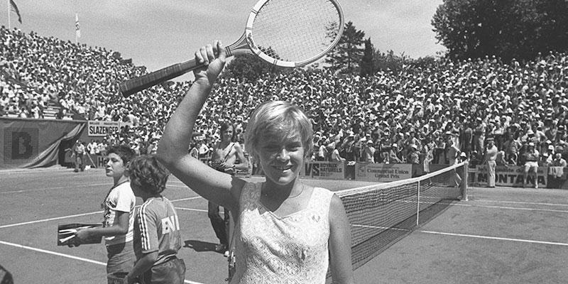 Sue Barker at Roland Garros