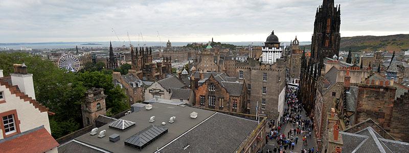 Arial shot of Edinburgh city
