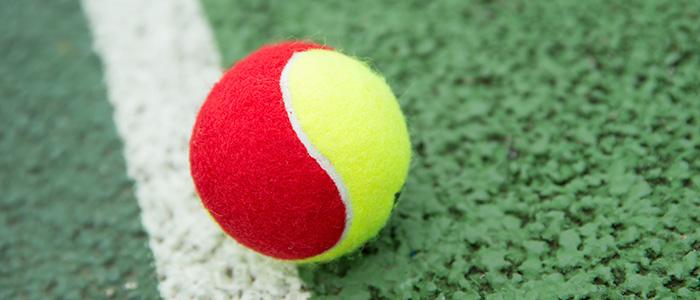 Mini Tennis Red ball on tennis court