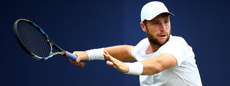 Luke Bambridge in action at 2017 Aegon International Eastbourne qualifying
