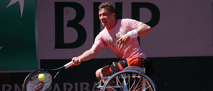 Alfie Hewett of Great Britain plays a forehand during the mens singles wheelchair final match against Gustavo Fernandez