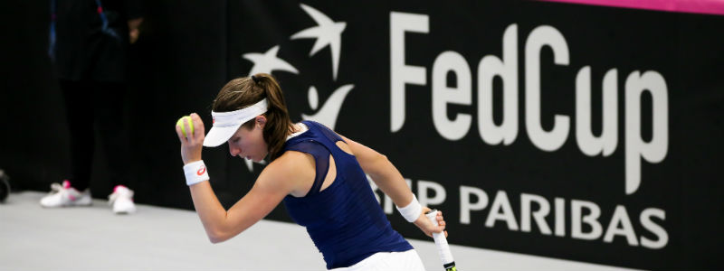 Johanna Konta prepares to serve in the Fed Cup Zone Group 1