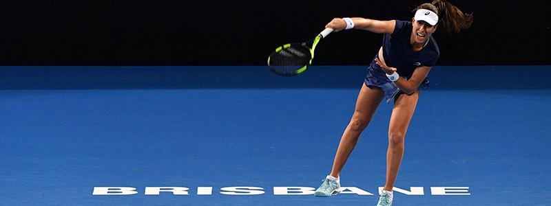 Johanna Konta in action at the 2018 Brisbane International