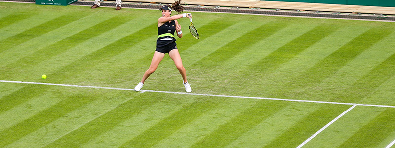 Johanna Konta plays a forehand during day one of the Nature Valley Classic