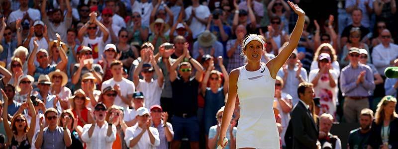 Johanna Konta waving to fans at Wimbledon 2017