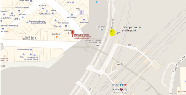 Map showing the location of the shuttle bus for the NEC Wheelchair Tennis Masters